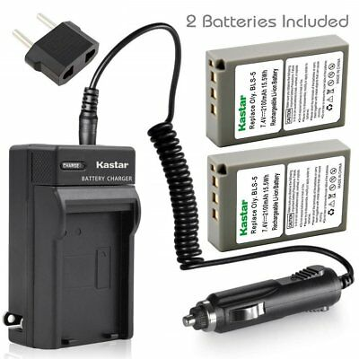 BLS-5 Battery or Travel Charger for Olympus E-PM1, Stylus 1, Stylus 1s, E-420