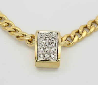 Gelb Weiß Gold Collier in aus 14kt 585er mit Diamanten Diamantkette Goldcollier