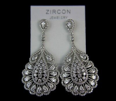 Superior Cut Cubic Zirconia Cluster Flower Drop Bridal Prom Party Earring UK New