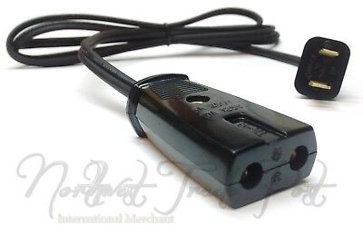 """Replacement 6ft Power Cord for Vintage Small Appliance - 2 Round Pin 1/2"""" Spaced"""
