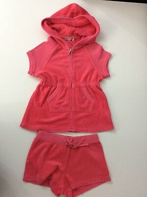 Juicy Couture Outfit  Set Hoodie & Shorts Age 6 Years, Pink, Vgc