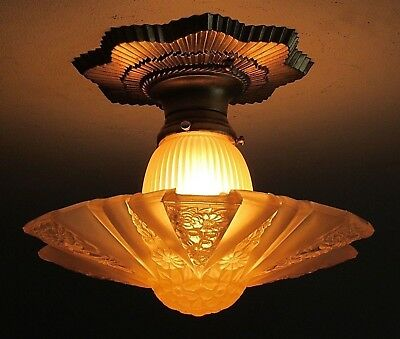 Antique CONSOLIDATED MODERNIZER Ceiling Light Fixture - Professionally Restored