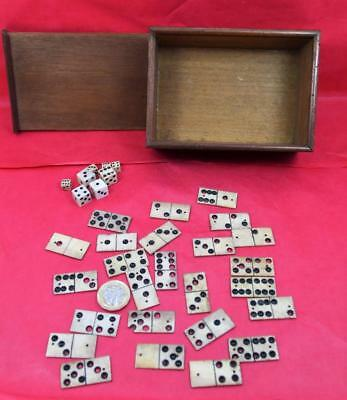 Antique 19 c Bovine Cattle Bone draught Pieces & small dice as found & chess Box