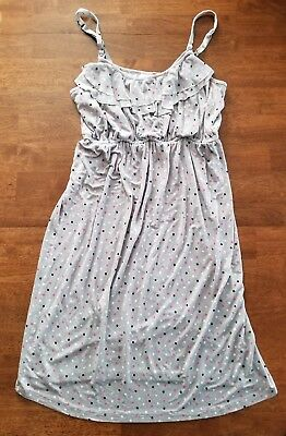 A Pea in the Pod Maternity Sleeveless Sun Dress Size Small Medium Gray Polka Dot