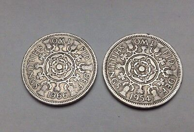 Two (2) Coins - 1954 & 1966 Great Britain Elizabeth II Florin Two Shilling Coins