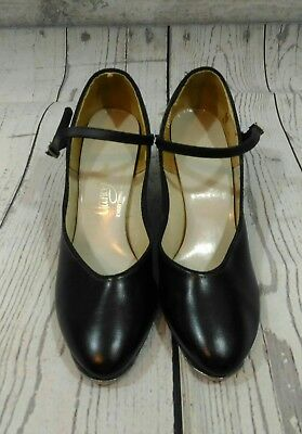 Vintage Mack Tap Shoes Woman's Sz 8.5 Black Leather Heels Buckle Strap