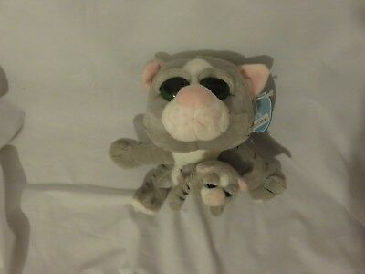 "7"" cute soft keel toys mini-me's grey cat with kitten plush doll new tag"