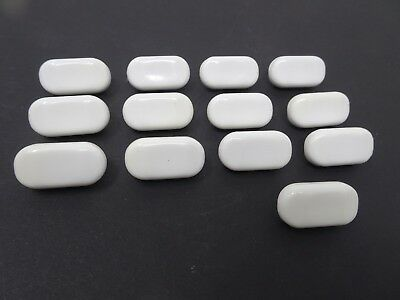 Vintage White Oval Buttons 28mm Lot of 13 B68-3