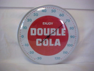 "Double Cola 12"" Round Thermometer With Glass Dome Front Aluminum Casing"