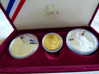 1983 And1984 Olympic 3 Coin Proof Set :  $10 Gold And 2  Silver Dollars
