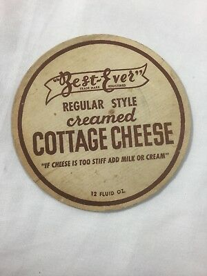 "Vintage ""BEST EVER"" Creamed Cottage Cheese Lid IF CHEESE IS TOO STIFF ADD MILK.."