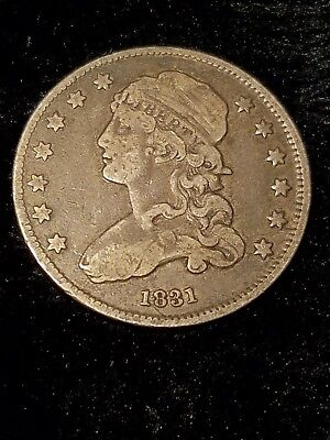 1831 25C Small Letters Capped Bust Quarter B-3, R.5
