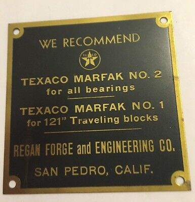Vintage Texaco Marfak Gas Oil Plate Plaque Badge Regan Forge & Engineering Co.
