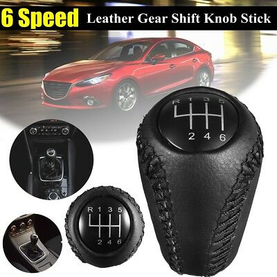 6 Speed Leather Gear Shift Knob Shifter Stick For MAZDA 3 BK 5 CR 6 II CX-7 MX-5