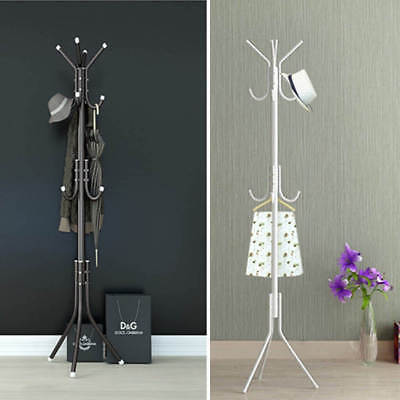 White Coat Stand Rack Clothes Hanger Hat Tree Vintage Jacket Bag Umbrella Hook