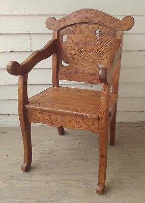 Carved Dragon Throne Chair Very Hard Wood Teak Thailand Asian Very Nice Detail