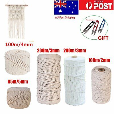 200M 100% Natural Cotton String Twisted Cord Beige Craft Macrame Artisan 2-5mm S