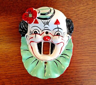 Vtg Clown Light Switch Cover Plate Circus Carnival Childs Japan Ceramic