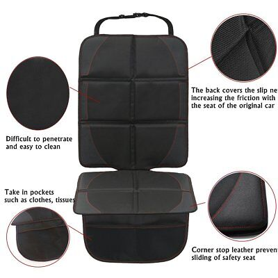 Baby Car Seat Protector Mat Cover Under Child PU Leather Saver Black