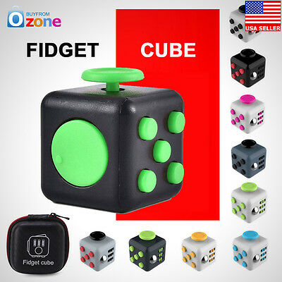 1x Fidget Cube Anxiety Stress Relief Focus Dice Bag Case Carry Packet Adult Kids