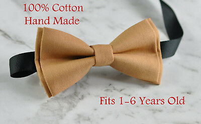 Boy Kids Baby 100% Cotton Lion Camel Pale Brown Bow Tie Bowtie 1-6 Years Old