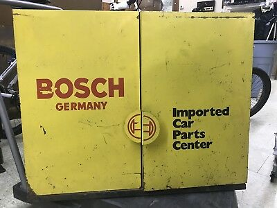 Vintage Bosch Germany Imported Car Parts Center Wall Cabinet Metal
