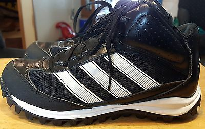 Adidas high tops with cleats black size 6 1/2 mens leather laces nice