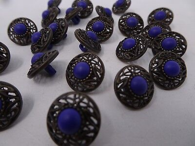 Vtg Purple Faux Rhinestone w/ Ornate Border Shank Buttons 15mm Lot of 6 A86-1