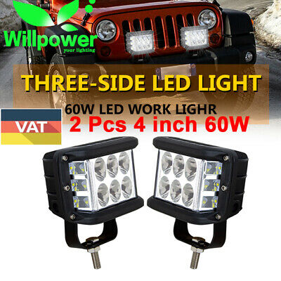 """2X Side Shooter 4"""" inch 60W CREE LED Work Light Pod Combo Beam Driving Lamp 90W"""