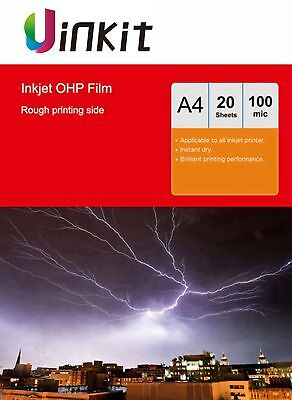 A4 Overhead Projector OHP Film Inkjet Ink Print Transparent  - 20 Sheets Uinkit