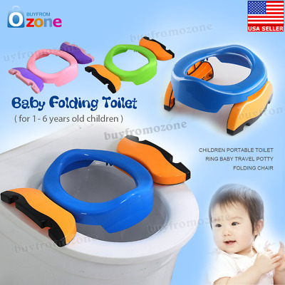 2in1 Foldable Portable Travel Potty Chair Toilet Seat For Baby Kids Plastic Seat