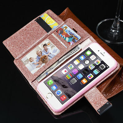 Bling Magnetic Leather Wallet Flip Case Cover For Samsung Galaxy S7 Edge S9 Plus