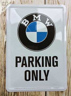 RARE BMW PARKING ONLY - Metal Postcard Mini Tin Sign Novelty Card motor garage