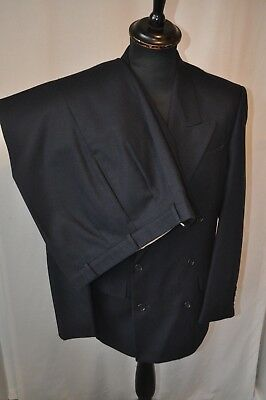 """Next Navy Blue heavy wool double breasted suit size small 36R waist 32"""" jazz"""