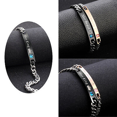 Couple Bracelet His Queen Her king Crystal Tainless Steel Chain Brangle Jewelry
