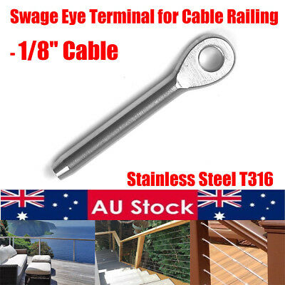 1~100X Stainless Steel Marine Eye Swage Terminal Fitting for 1/8'' Cable Railing