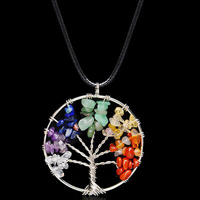 Chic Bead Amethyst 7 Chakra Healing Tree of Life Pendant Necklace Unique Jewelry