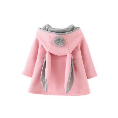 Baby Girl Hooded Coat Jacket Bunny Rabbit Ear Outfit Long Sleeve Top Clothes