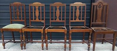 Silky oak chairs (5) for Restoration