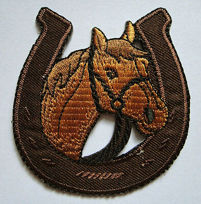 BROWN HORSE RACING WITH HORSESHOE Embroidered Iron on Patch Free Shipping