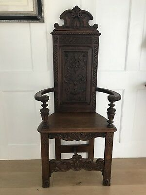 Antique Solid Oak Throne Chair