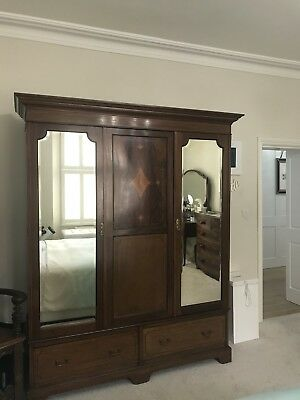 Mahogany Wardrobe Edwardian Inlaid Double Door