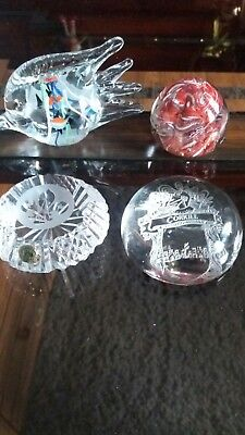 Set of 4 Glass Paperweights. To include Tyrone Crystal.