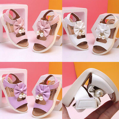 Kids Toddler Baby Girl Sandals Bowknot Pearl Party Princess Sandles Casual Shoes