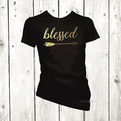 Ladies Women Blessed T-Shirt Metallic Foil Gold Print Funny Top Novelty Tee