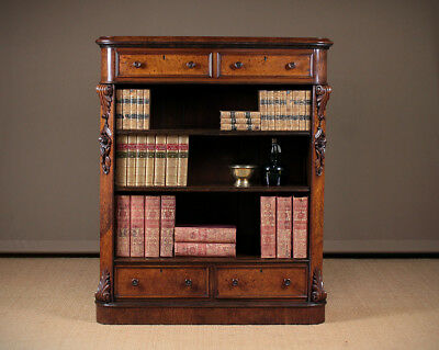 Antique 19th.c. Burr Walnut Open Bookshelves With Drawers c.1880