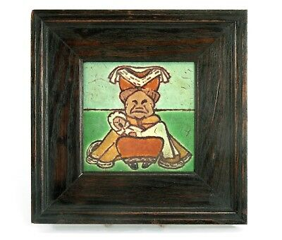 Grueby Pardee Pottery Alice in Wonderland tile Duchess matte green Arts & Crafts
