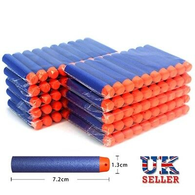 50 100 Nerf Gun Soft Refill Bullets Darts Round Head Blasters For N-Strike Toy