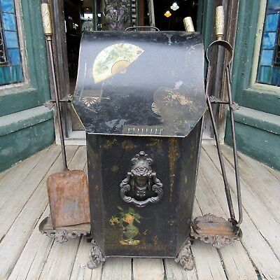 Aesthetic Movement Tin Coal Hod With Fireplace Tools