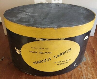 Very Old Model Millinery Margot Carron Of London Hat Box ~ Great Display